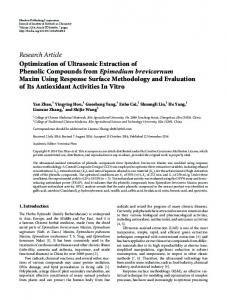 Optimization of Ultrasonic Extraction of Phenolic Compounds from ...