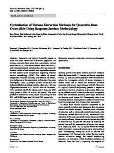 Optimization of Various Extraction Methods for ... - Springer Link
