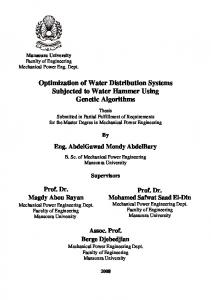 Optimization of Water Distribution Systems