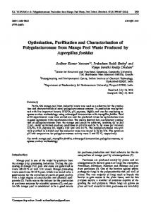 Optimization, Purification and Characterization of