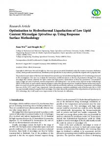 Optimization to Hydrothermal Liquefaction of Low Lipid Content ...