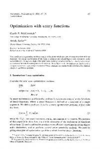 Optimization with unary functions