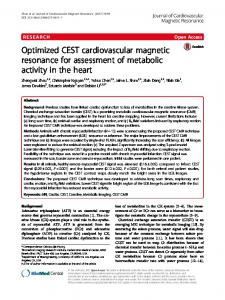 Optimized CEST cardiovascular magnetic