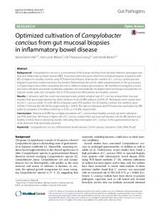 Optimized cultivation ofCampylobacter concisusfrom gut mucosal ...