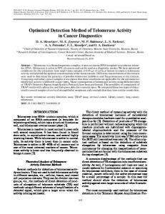 Optimized Detection Method of Telomerase Activity in ... - Springer Link