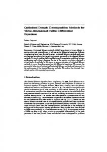Optimized Domain Decomposition Methods for Three ... - Ricam