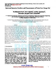 Optimized Extraction Condition and Characterization of Pectin from ...