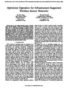 Optimized Operation for Infrastructure-Supported Wireless Sensor ...