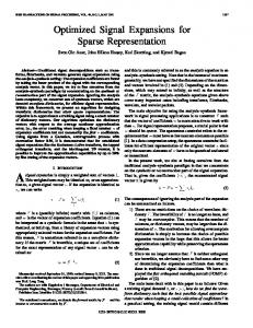 Optimized signal expansions for sparse ... - Semantic Scholar