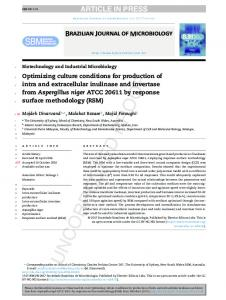 Optimizing culture conditions for production of intra ... - CyberLeninka