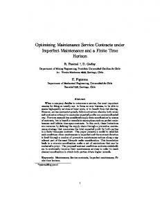 Optimizing Maintenance Service Contracts under