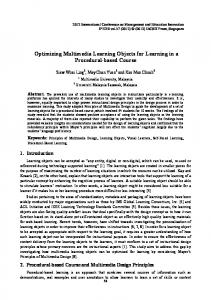 Optimizing Multimedia Learning Objects for Learning in a ... - ipedr