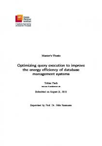 Optimizing query execution to improve the energy efficiency of ...