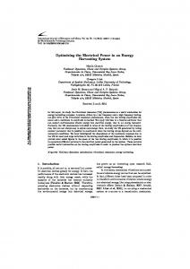 Optimizing the Electrical Power in an Energy Harvesting System