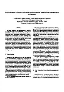 Optimizing the implementation of a MANET routing protocol ... - grc.upv