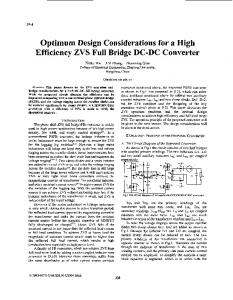 Optimum design considerations for a high efficiency ZVS full bridge ...