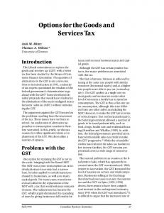 Options for the Goods and Services Tax