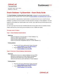 Oracle Database 11g Essentials - Exam Study Guide