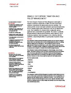 ORACLE ENTERPRISE TAXATION AND POLICY MANAGEMENT ...