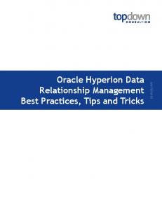 Oracle Hyperion Data Relationship Management Best Practices ...