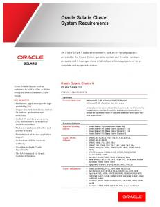 ORACLE SOLARIS CLUSTER SYSTEM REQUIREMENTS
