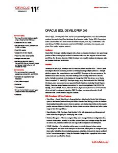 Oracle SQL Developer 3.0