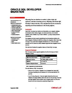 ORACLE SQL DEVELOPER MIGRATION