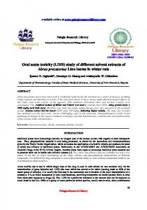 Oral acute toxicity (LD50) study of different solvent extracts ... - iMedPub