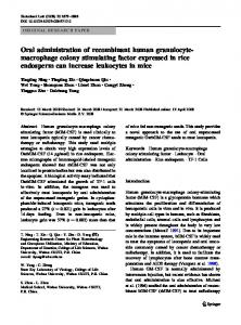 Oral administration of recombinant human granulocyte- macrophage ...