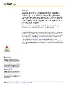 Oral anticoagulant re-initiation following intracerebral ... - PLOS