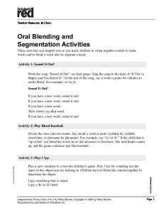 Oral Blending and Segmentation Activities - Scholastic