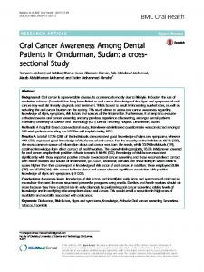 Oral Cancer Awareness Among Dental Patients in ... - BMC Oral Health