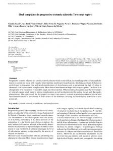 Oral complaints in progressive systemic sclerosis - Med Oral Patol ...