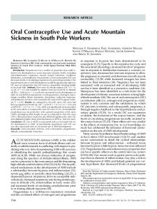 Oral Contraceptive Use and Acute Mountain ... - IngentaConnect