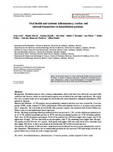 Oral health and systemic inflammatory, cardiac and