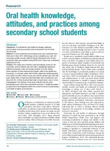 Oral health knowledge, attitudes, and practices ...