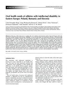 Oral health needs of athletes with intellectual disability in Eastern ...