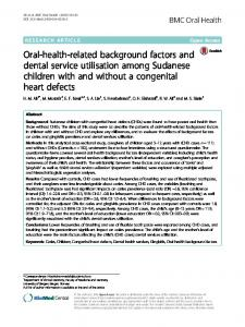 Oral-health-related background factors and dental ... - BMC Oral Health