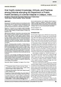 Oral Health-related Knowledge, Attitude, and ... - Jaypee Journals