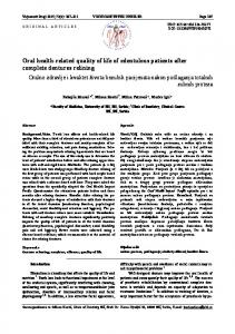 Oral health-related quality of life of edentulous ... - Semantic Scholar