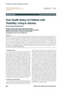 Oral Health Status of Children with Disability Living ... - Semantic Scholar