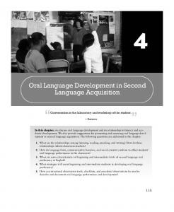 Oral Language Development in Second Language Acquisition