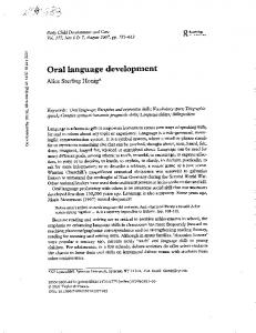 Oral language development