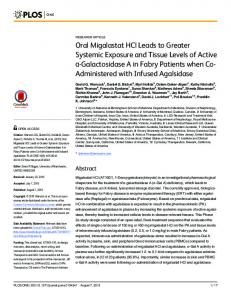 Oral Migalastat HCl Leads to Greater Systemic Exposure and ... - PLOS