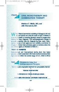 oral monotherapy and combination therapy
