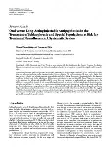 Oral versus Long-Acting Injectable Antipsychotics in the Treatment of ...