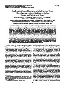 Orally Administered Erythromycin in Rainbow Trout (Oncorhynchus ...