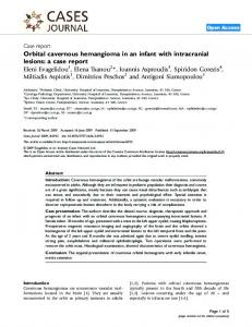 Orbital cavernous hemangioma in an infant with ... - Springer Link