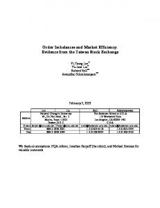 Order Imbalances and Market Efficiency: Evidence from ... - CiteSeerX