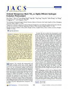 Ordered Mesoporous Black TiO2 as Highly Efficient Hydrogen ...
